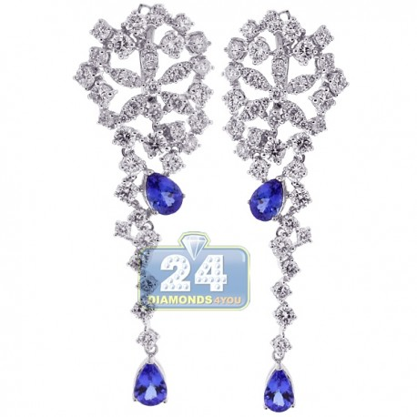 Womens Diamond Tanzanite Dangle Earrings 18K White Gold 8.95 ct