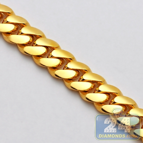Handmade Pure 24k Yellow Gold Miami Cuban Link Mens Chain 11mm