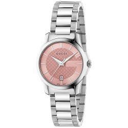 Gucci G-Timeless 27 mm Pink Dial Steel Womens Watch YA126524