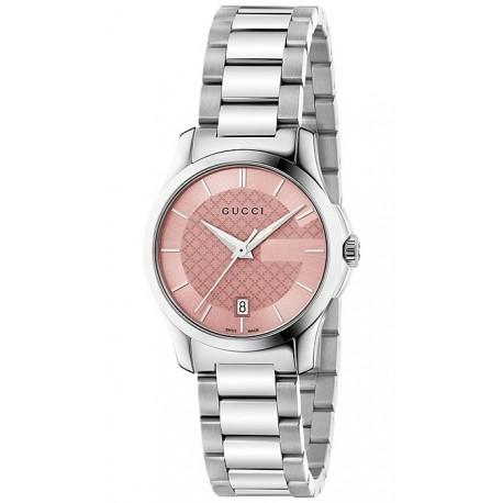 Gucci G-Timeless 27 mm Pink Dial Steel Womens Watch YA126524