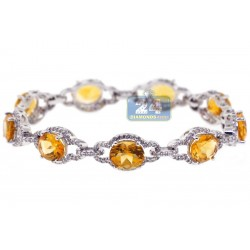 Womens Citrine Diamond Halo Bracelet 14K White Gold 22.94 Carat