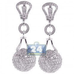 18K White Gold 9.91 ct Diamond Womens Dangle Ball Earrings