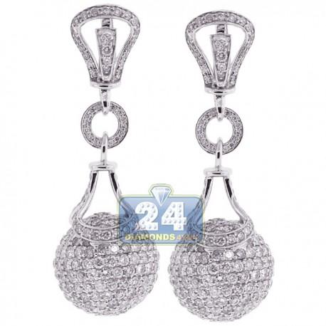 Womens Diamond Ball Drop Earrings 18K White Gold 9.91 Carat