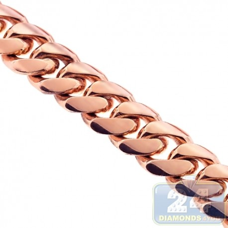 Handmade 18K Rose Gold Miami Cuban Link Mens Chain 16 mm