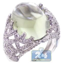 14K White Gold 17.74 ct Green Amethyst Diamond Womens Ring