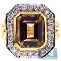 18K Yellow Gold 2.92 ct Bezel Tourmaline Diamond Womens Ring