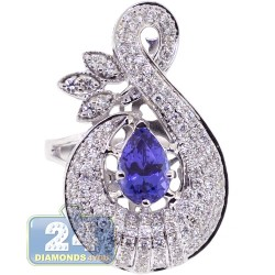 18K White Gold 3.04 ct Pear Tanzanite Diamond Womens Ring