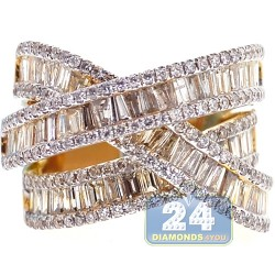18K Yellow Gold 3.93 ct Baguette Diamond Womens Highway Ring