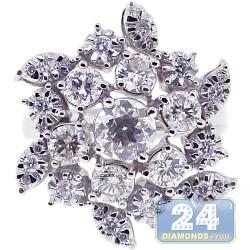 18K White Gold 2.15 ct Diamond Womens Flower Ring