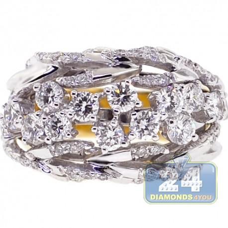 18K Yellow White Gold 1.70 ct Diamond Womens Branch Ring