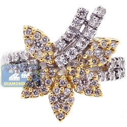 18K Two Tone Gold 0.79 ct Diamond Womens Floral Ring