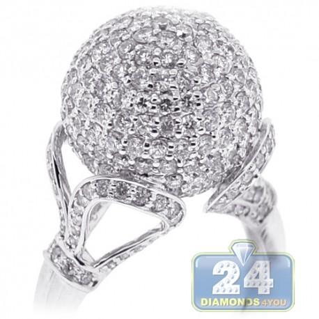 18K White Gold 4.20 ct Diamond Womens Ball Ring