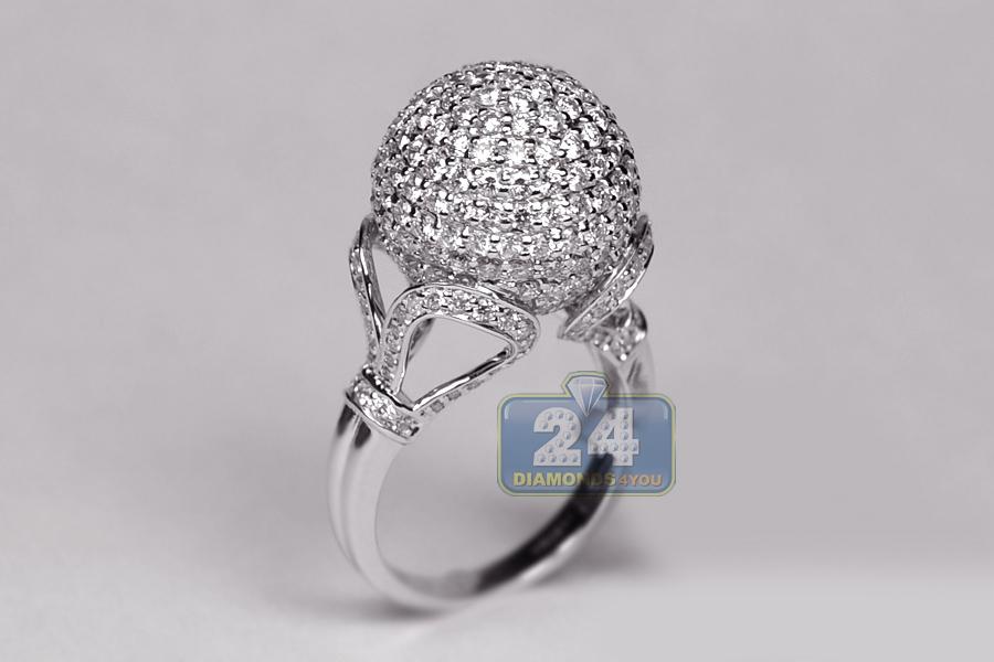 Womens Diamond Cluster Round Ball Ring 18k White Gold 4 20ct