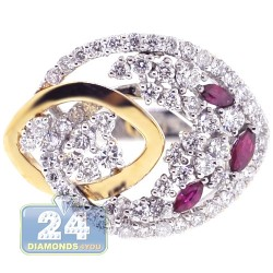 18K Two Tone Gold 1.12 ct Diamond Ruby Womens Floral Ring