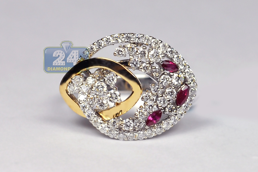 Womens Diamond Ruby Floral Gem Ring 18k Two Tone Gold 1 12 Ct