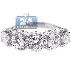 18K White Gold 2.72 ct Five Round Diamond Womens Ring