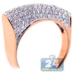 18K Rose Gold 1.27 ct Diamond Womens Edge Ring