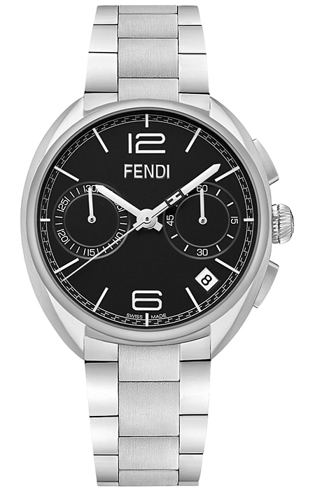 1f880e9c82d8 F213011000 Fendi Momento Chrono Steel Black Dial Mens Watch