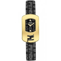 F302421011D1 Fendi Chameleon Black Graffiti Dial Yellow Gold Case Watch 18mm