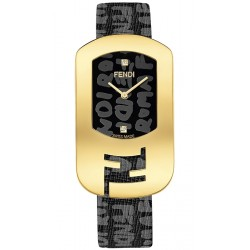F302431011D1 Fendi Chameleon Black Graffiti Yellow Gold Watch 29mm