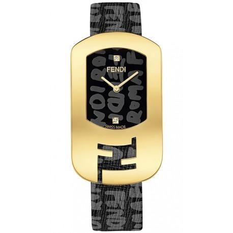 F302431011D1 Fendi Chameleon Black Graffiti Yellow Gold Watch 29mm