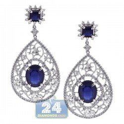 18K White Gold 10.65 ct Blue Sapphire Diamond Womens Dangle Earrings