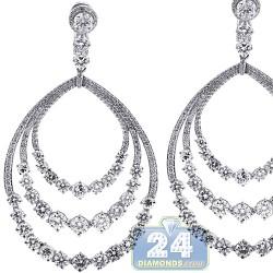 18K White Gold 17.26 ct Diamond Womens Layered Dangle Earrings