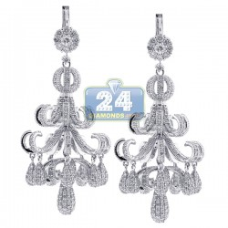 Womens Diamond Pave Chandelier Earrings 18K White Gold 8.68 ct