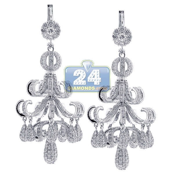 Diamond pave chandelier earrings 18k white gold 868 ct womens diamond pave chandelier earrings 18k white gold 868 ct aloadofball Choice Image
