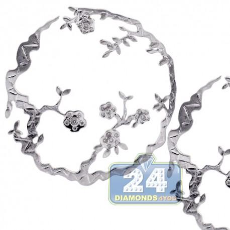 Womens Diamond Open Flower Earrings 18K White Gold 0.35 Carat