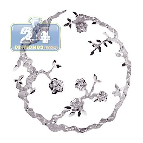 Womens Diamond Filigree Floral Pendant Matte 18K White Gold