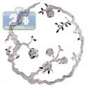 Matte 18K White Gold 0.17 ct Diamond Filigree Floral Pendant