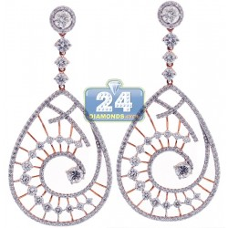 18K Rose Gold 6.08 ct Diamond Evil Eye Dangle Earrings 2.5 inch