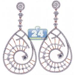 18K Rose Gold 6.08 ct Diamond Womens Evil Eye Earrings