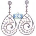 18K Rose Gold 6.08 ct Diamond Evil Eye Dangle Earrings 2.5 inch