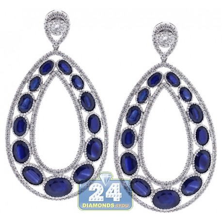 Womens Sapphire Diamond Open Earrings 18K White Gold 20.56 ct