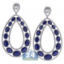 18K White Gold 20.56 ct Sapphire Diamond Womens Open Earrings