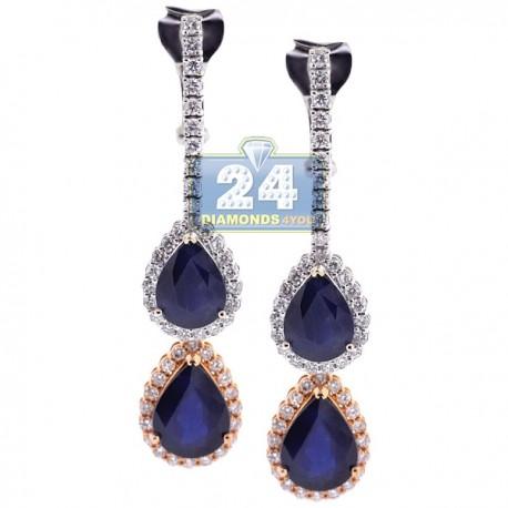 Womens Sapphire Diamond Double Drop Earrings 18K Gold 11.47 ct
