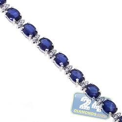 Womens Sapphire Diamond Tennis Bracelet 18K White Gold 11.11 ct