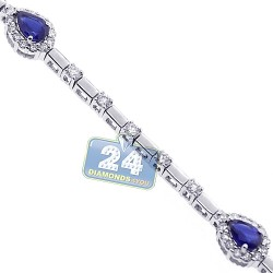 Womens Pear Sapphire Diamond Halo Bracelet 18K White Gold 3.81 ct