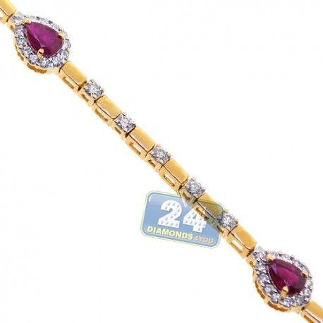 Womens Pear Ruby Diamond Halo Bracelet 18K Yellow Gold 3.71 ct
