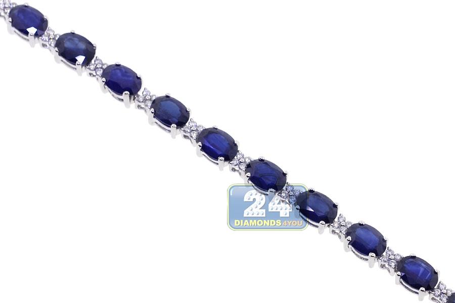 Womens Blue Sapphire Diamond Bracelet 18k White Gold 19 63