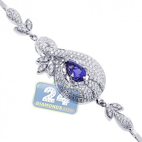"Womens Tanzanite Diamond Bracelet 18K White Gold 3.39 ct 8.25"""