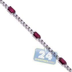 Womens Ruby Diamond Tennis Bracelet 18K White Gold 2.41 ct 7.25""