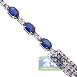 Womens Diamond Blue Sapphire Tennis Necklace 18K White Gold