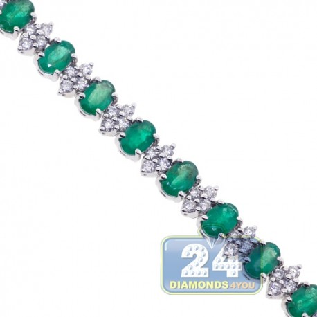 Womens Emerald Diamond Tennis Necklace 18K White Gold 7mm 17""