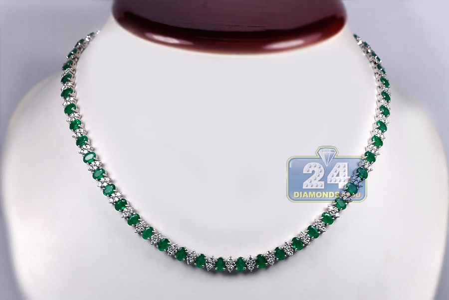 Womens Emerald Diamond Tennis Necklace 18K White Gold 7mm 17