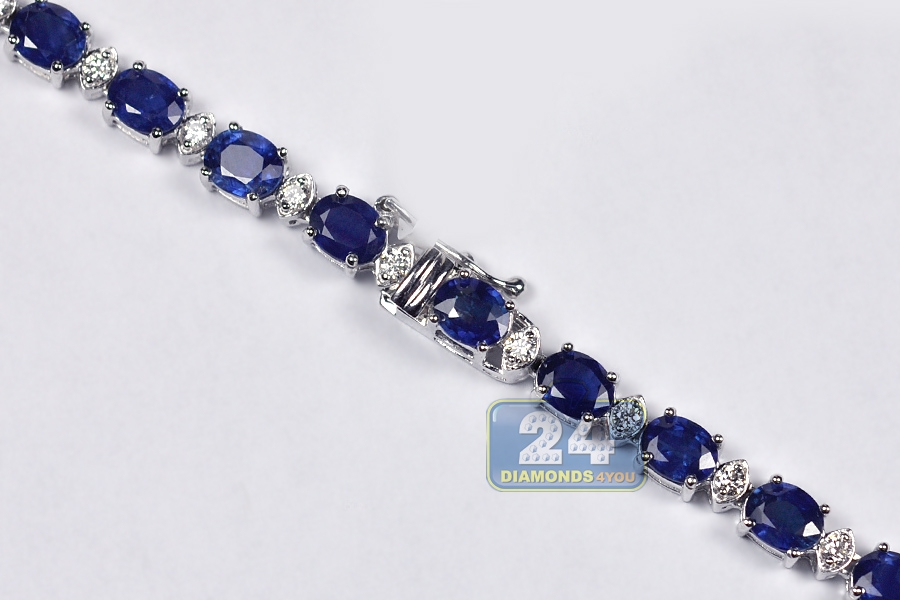 Details about  /34.10 CT Blue Sapphire /& Diamond 14K White Gold Over Pretty Tennis Necklaces