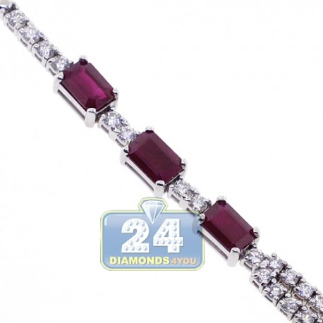 Womens Diamond Ruby Layered Tennis Necklace 18K White Gold 9.4ct