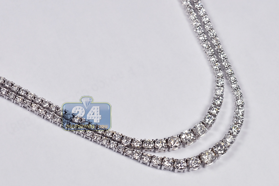 Womens Diamond Ruby Layered Tennis Necklace 18K White Gold 9.4ct b33ca65c5